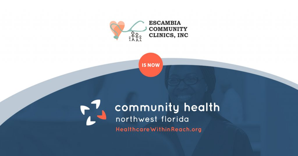 Graphic showing Escambia Community Clinics old transforming into Community Health Northwest Florida logo.