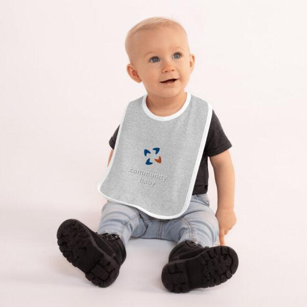embroidered baby bib heather gray white 5fca7e0cd03ee 600x600 - Embroidered Baby Bib