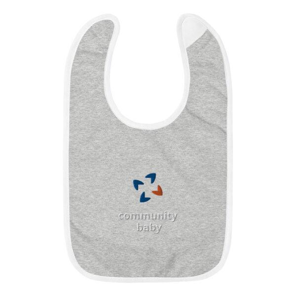 embroidered baby bib heather gray white 5fca7e0cd0490 600x600 - Embroidered Baby Bib