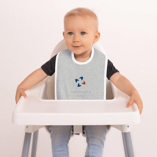 embroidered baby bib heather gray white 5fca7e0cd04ec 600x600 - Embroidered Baby Bib