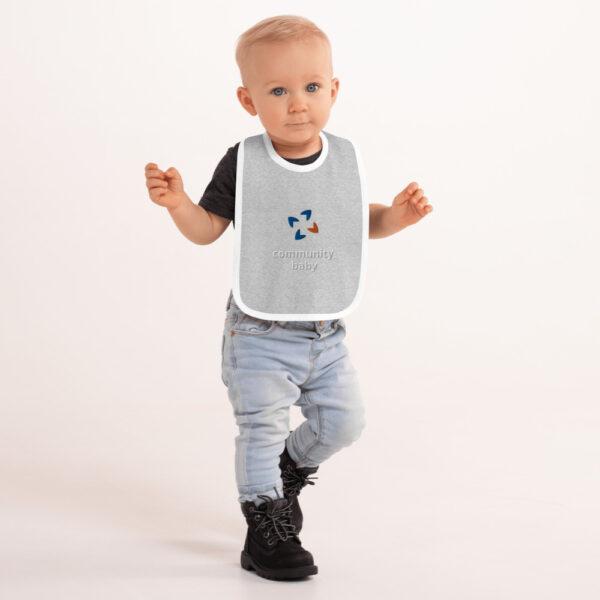 embroidered baby bib heather gray white 5fca7e0cd0537 600x600 - Embroidered Baby Bib